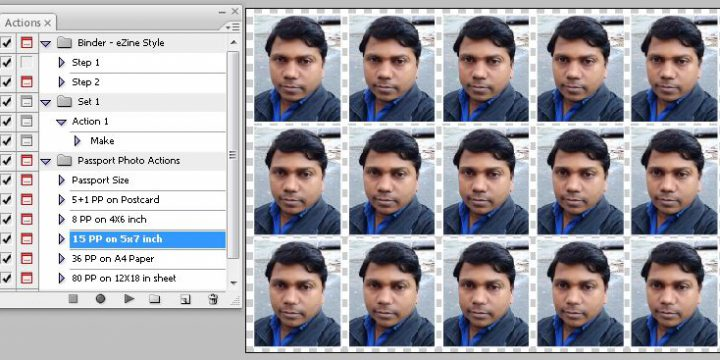 15 Passport Photo Action on 5×7 Size Sheet For Photoshop