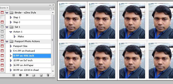 8 Passport Photo Action on 4×6 Size Sheet
