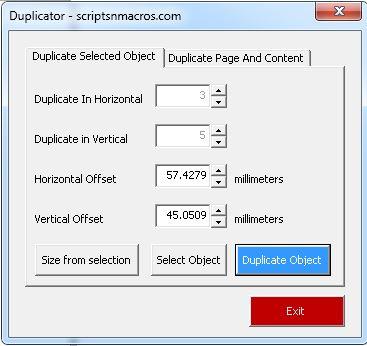 Duplicator – CorelDraw Macro