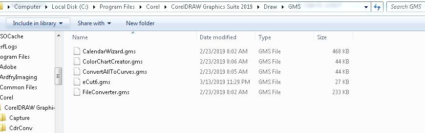 CorelDraw GMS Folder