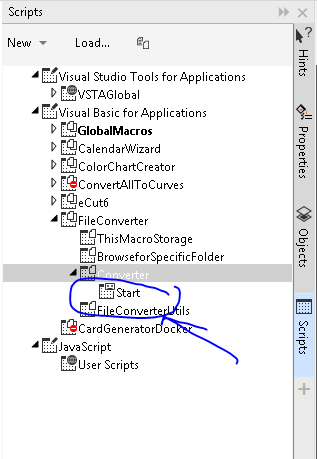 Scripts Manager Panel
