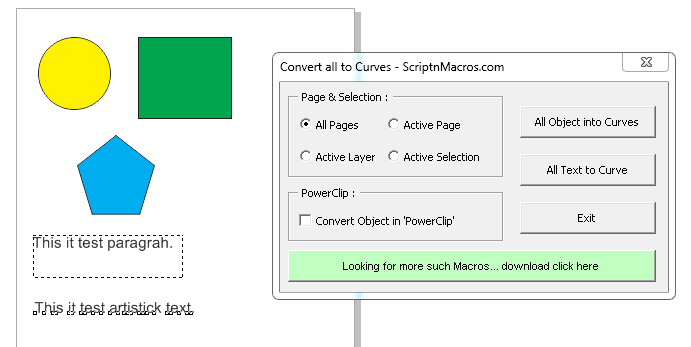 Convert all text to curves... application run